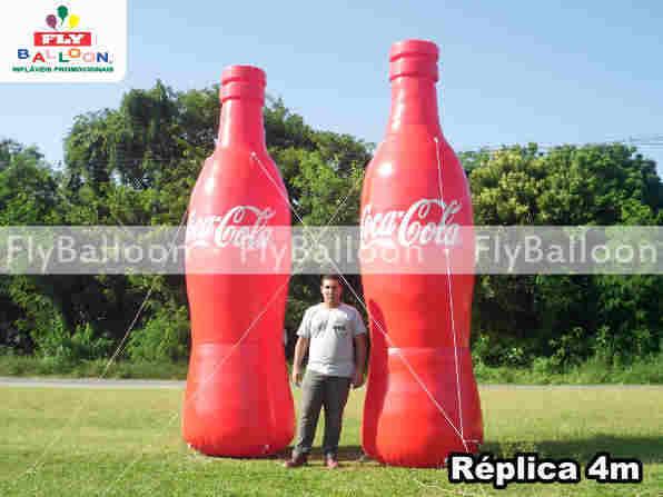 replicas inflaveis promocionais Gigantes garrafa coca cola sp