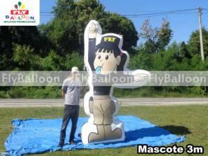 mascote gigante inflavel promocional PRF em Brasilia - DF