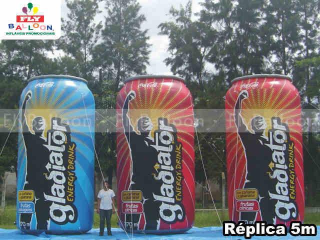 replicas inflaveis promocionais lata gladiator energy drynk