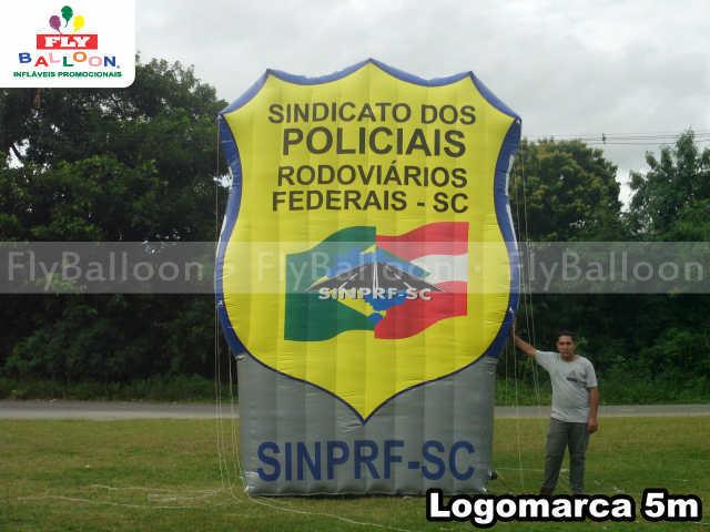 logomarca inflavel promocional sindicato dos policiais rodoviarios federais de sc