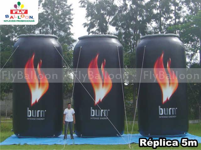 replicas inflaveis gigantes promocionais burn intense energy