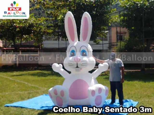 coelho sentado inflavel gigante promocional baby