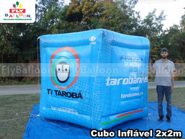 cubo inflável gigante promocional tv taroba news