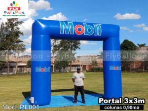 pórtico inflável promocional mobil lubrificantes