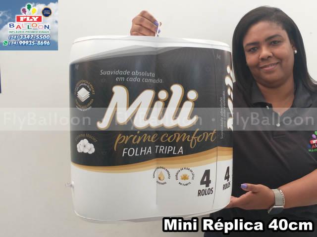 mini réplica inflável promocional papel higiênico mili prime confort